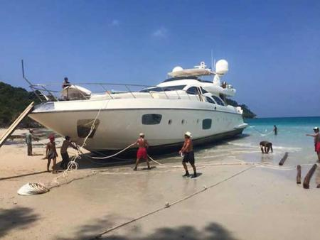 Russian Billionaire Beaches Yacht